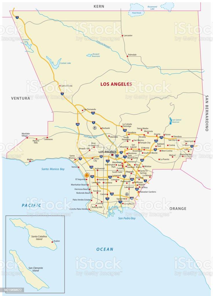Ruta Condado de los Ángeles - ilustración de arte vectorial