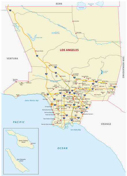 los angeles county road map - los angeles stock illustrations