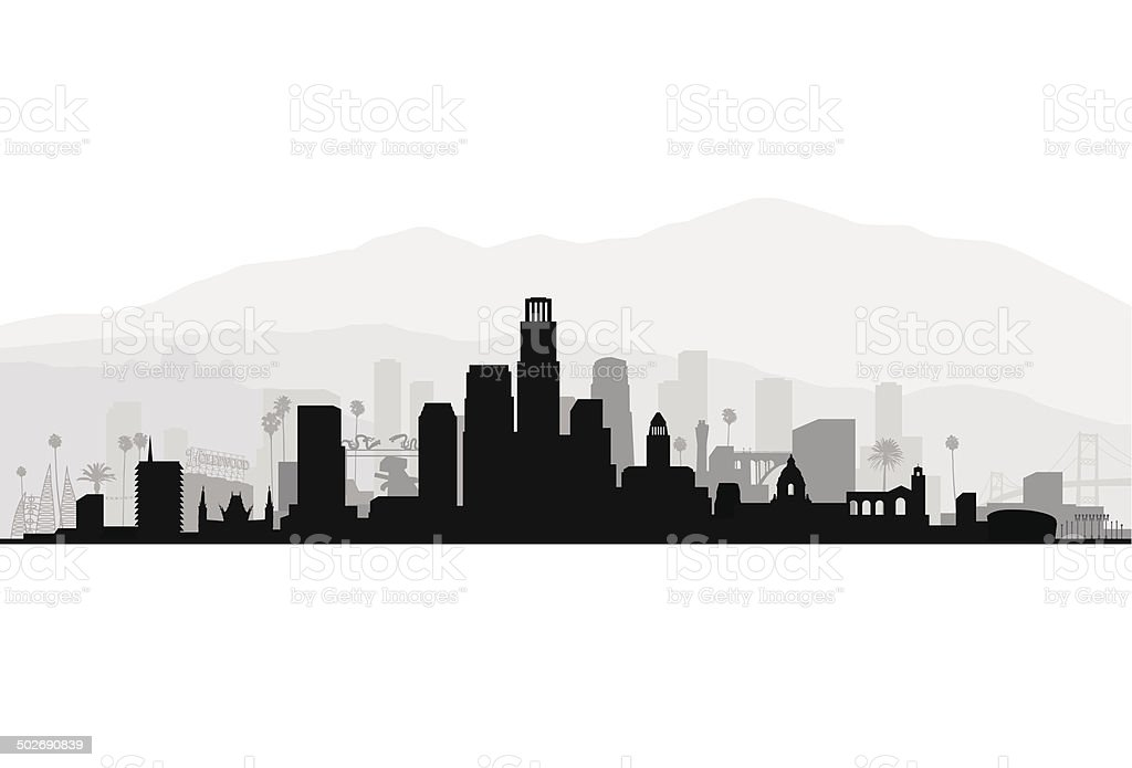 Los Angeles Detailed Cityscape vector art illustration