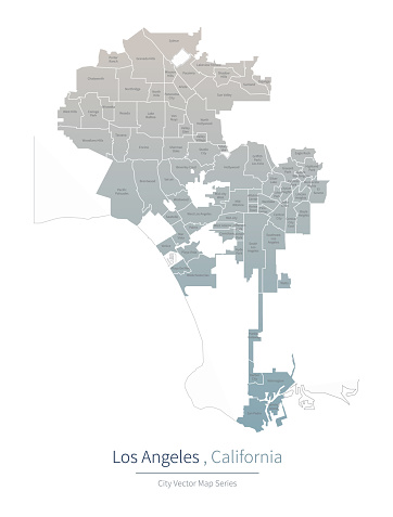 Los Angeles Map. a major city in the California.