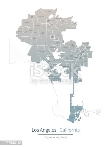 istock Los Angeles Map. a major city in the California. 1277930167