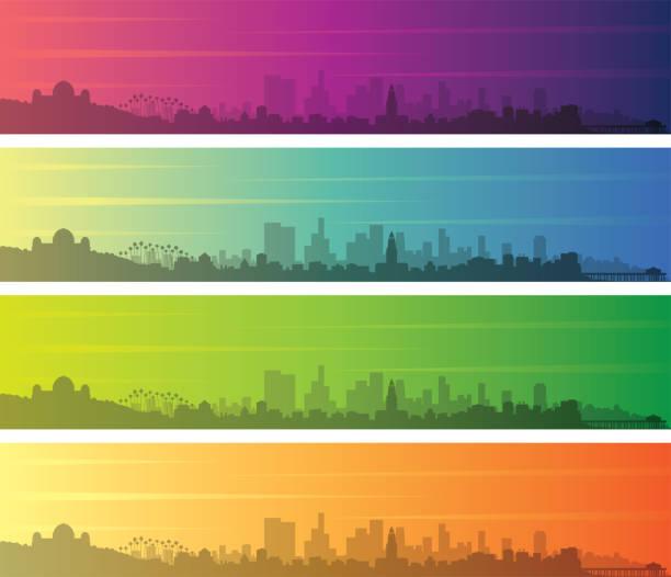 лос-анджелес несколько цвет градиент скайлайн баннер - los angeles stock illustrations