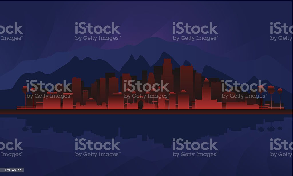Los Angeles night city skyline detailed silhouette royalty-free stock vector art