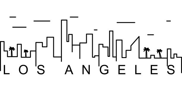 los angeles outline icon. can be used for web, logo, mobile app, ui, ux - los angeles stock illustrations