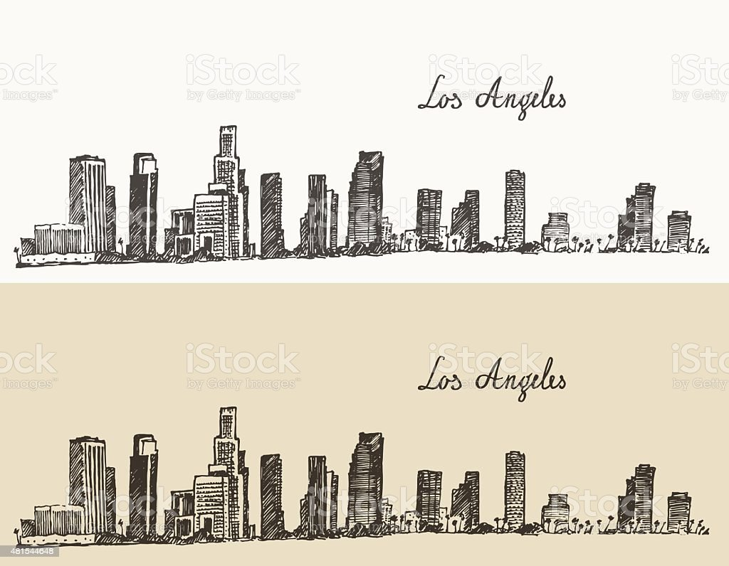 Los Angeles skyline California vintage engraved vector art illustration