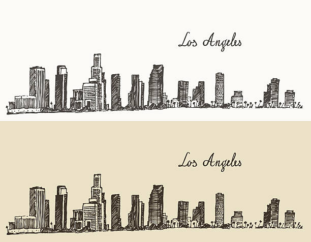 ilustraciones, imágenes clip art, dibujos animados e iconos de stock de edificios de los ángeles california, vintage las marcas - los angeles