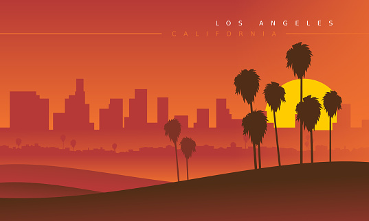 Los Angeles skyline during the sunset, viewed from the distance. Vector illustration. Stylized cityscape. California, USA