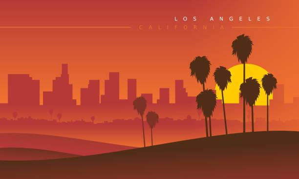 лос-анджелес горизонта во время заката, вид издалека. векторная иллюстрация. стилизованный городской пейзаж. калифорния, сша - los angeles stock illustrations