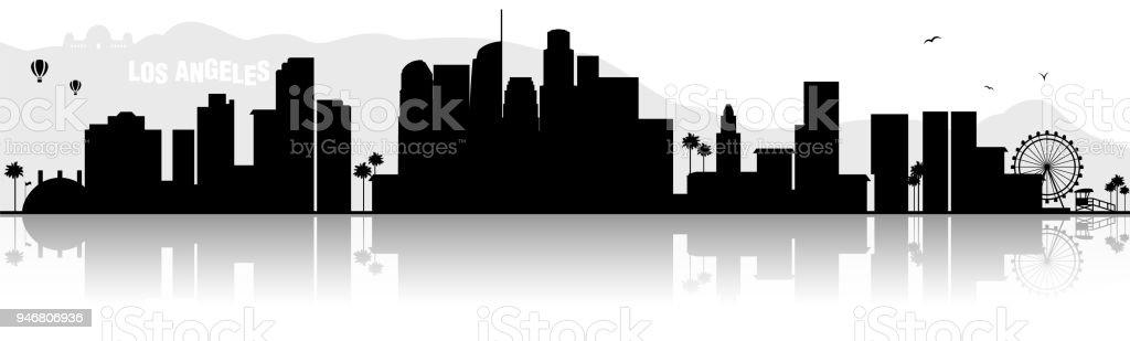 los angeles skyline silhouette schwarz stock vektor art und mehr bilder von  abstrakt - istock  istock