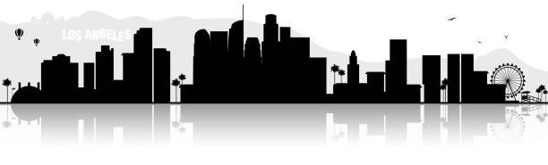 los angeles skyline silhouette black - los angeles stock illustrations