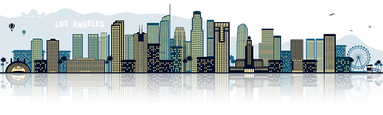 Los angeles skyline silhouette blue isolated