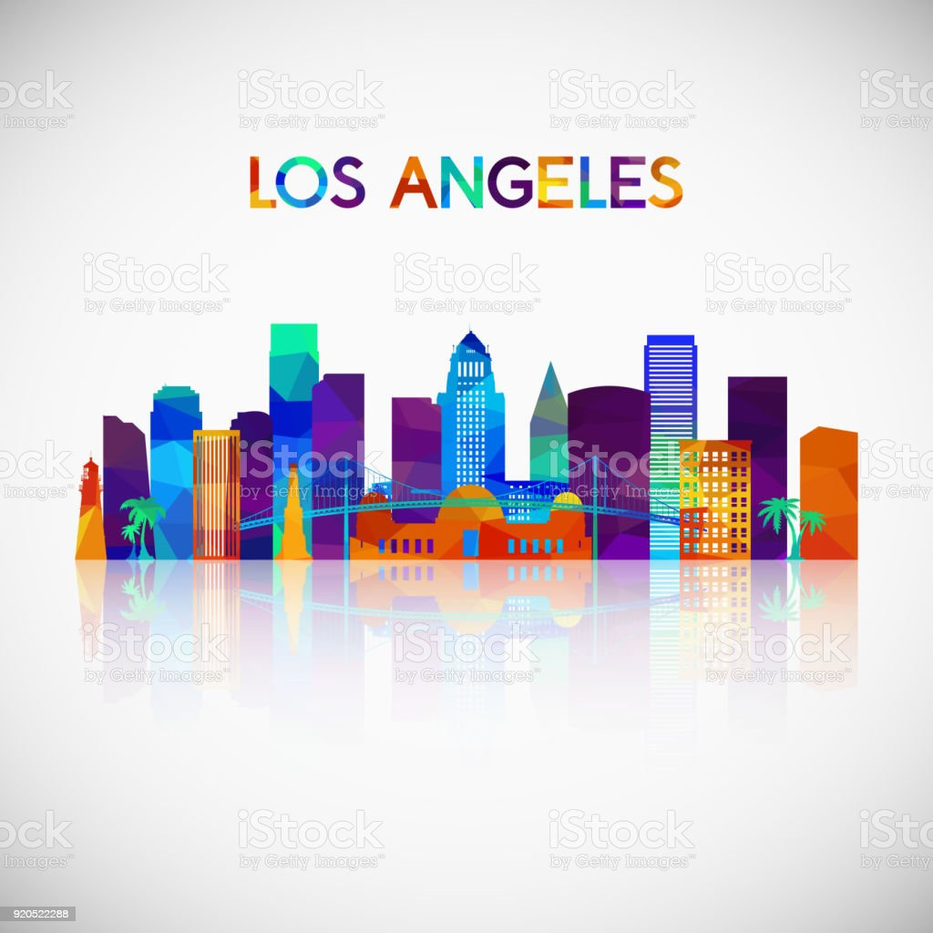 Arte Design In Los Angeles Images: Los Angeles Skyline Silhouette In Colorful Geometric Style