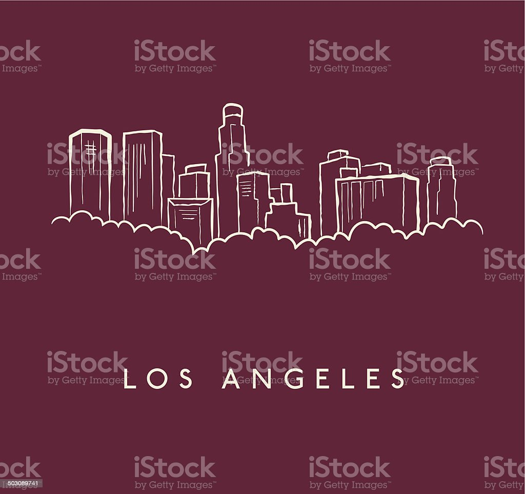 Los Angeles Skyline Sketch vector art illustration
