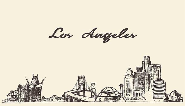 лос-анджелес линия горизонта вектор нарисованный от руки рисунок - los angeles stock illustrations