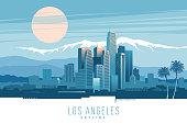 Stylish vector illustration of Los Angeles skyline at sunset.