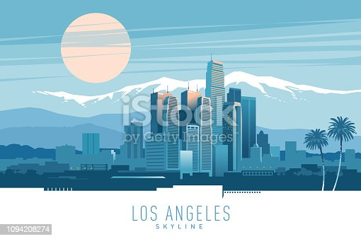 Stylish vector illustration of Los Angeles skyline at sunset.