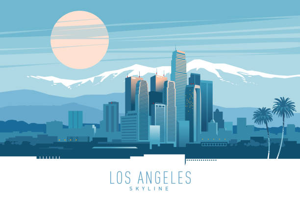Los Angeles skyline. Stylish vector illustration of Los Angeles skyline at sunset. cityscape stock illustrations