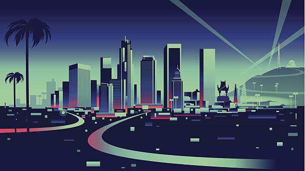 лос-анджелес skyline - los angeles stock illustrations