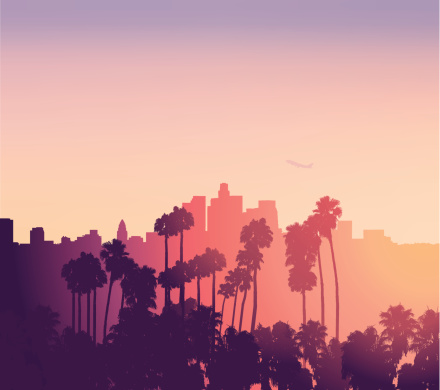 Los Angeles sunset scene with palm trees