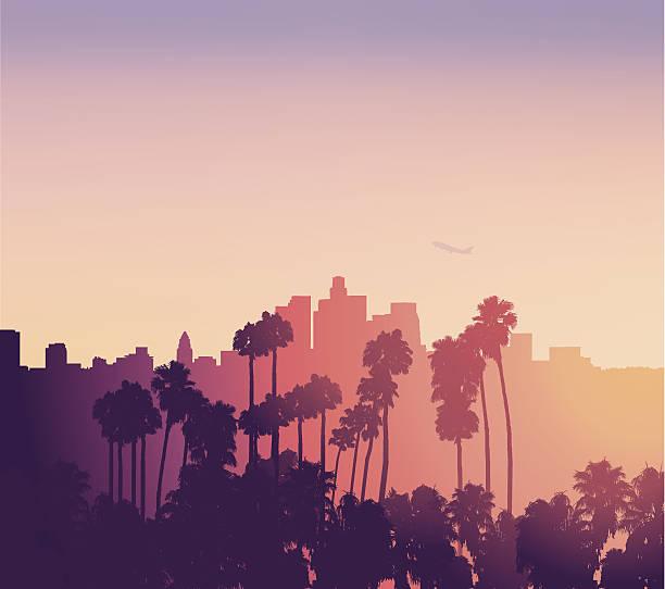 лос-анджелес закат пейзаж с пальмами - los angeles stock illustrations