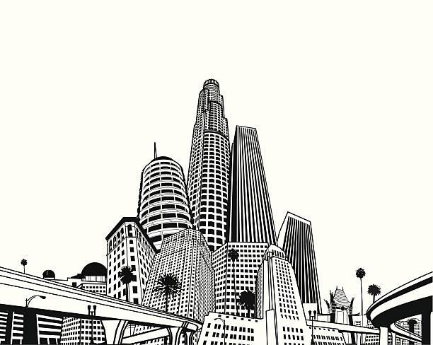 super megascape лос-анджелес - los angeles stock illustrations