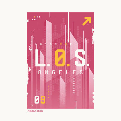 Los Angeles t-shirt abstract geometric futuristic design, print, typography, poster.