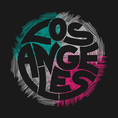 Los Angeles Typography Graphics in vintage style.