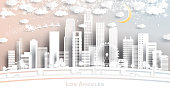 Los Angeles USA City Skyline in Paper Cut Style with Snowflakes, Moon and Neon Garland.