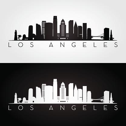 Los Angeles USA skyline and landmarks silhouette