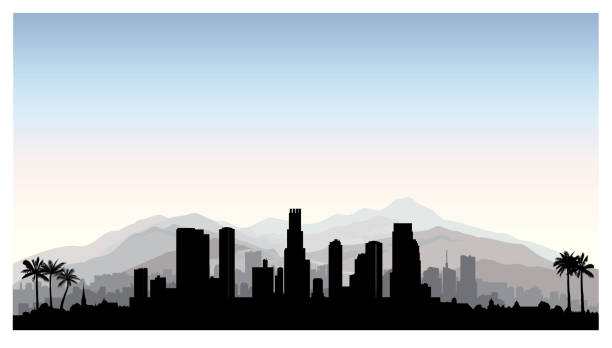 los angeles, usa skyline. city silhouette with skyscraper buildings, mountains and palm trees. famous american cityscape - los angeles stock illustrations