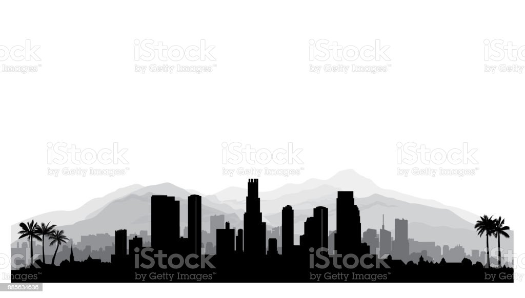 Los Angeles, USA skyline. City silhouette with skyscraper buildings, mountains and palm trees. Famous american cityscape vector art illustration