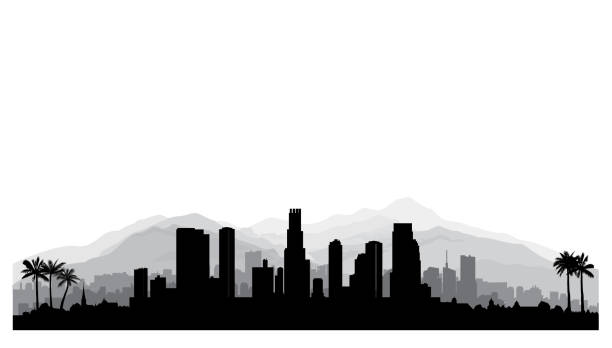 ilustrações de stock, clip art, desenhos animados e ícones de los angeles, usa skyline. city silhouette with skyscraper buildings, mountains and palm trees. famous american cityscape - skyline