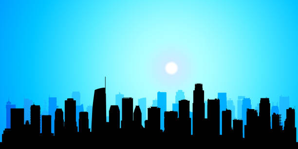 los angeles (all buildings are complete and moveable) - los angeles stock illustrations