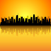 Los Angeles skyline. All buildings are complete and moveable.