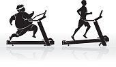 Isolated vector illustration side view silhouette of male exercising