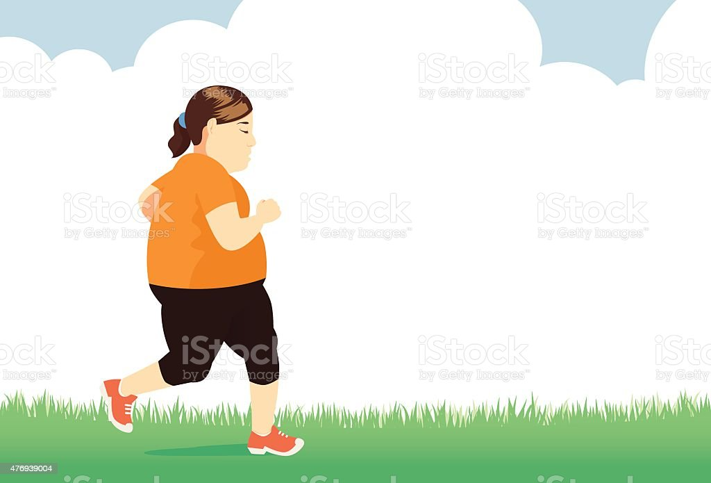 Lose weight with jogging vector art illustration