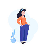 Losing weight. Successful dieting concept. Happy woman with in oversized pants. Flat vector illustration isolated on white background.