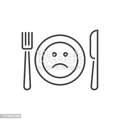 istock Loss of appetite related vector thin line icon 1219952356