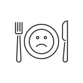 Loss of appetite related vector thin line icon