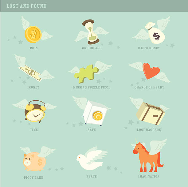 lost and found icons - lost stock illustrations
