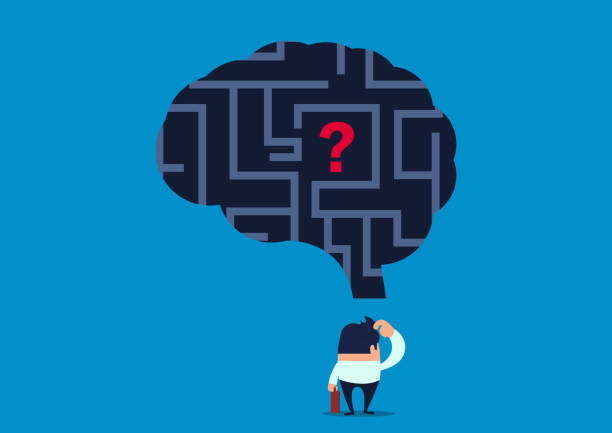 lost, the businessman wonders how to find the problem inside the brain maze - lost stock illustrations