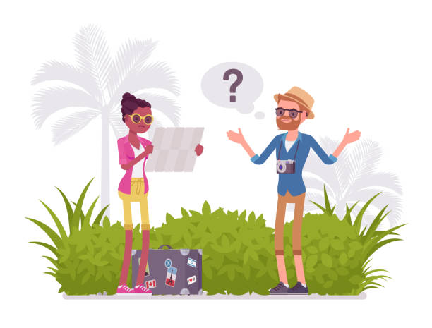 lost tourists in a foreign country - lost stock illustrations