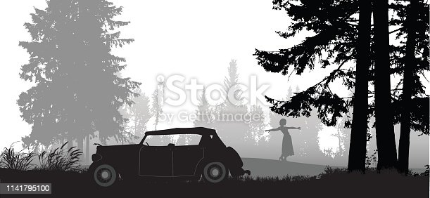 A vector silhouette illustration of a young woman in a clearing in the woods dancing between the trees beside an antique car.