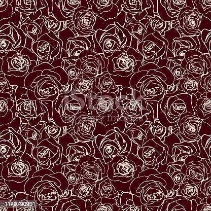 A lot of beautiful vanilla outline rosebuds on dark, seamless pattern
