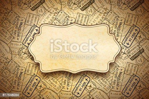 istock A lot of black International travel visa rubber stamps imprints on old paper with retro frame, horizontal vintage background 817548034