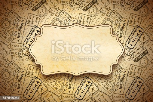 istock A lot of black International travel visa rubber stamps imprints on old paper with retro frame, horizontal vintage background 817548034