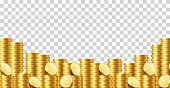 A lot of coins on a transparent background. Vector illustration