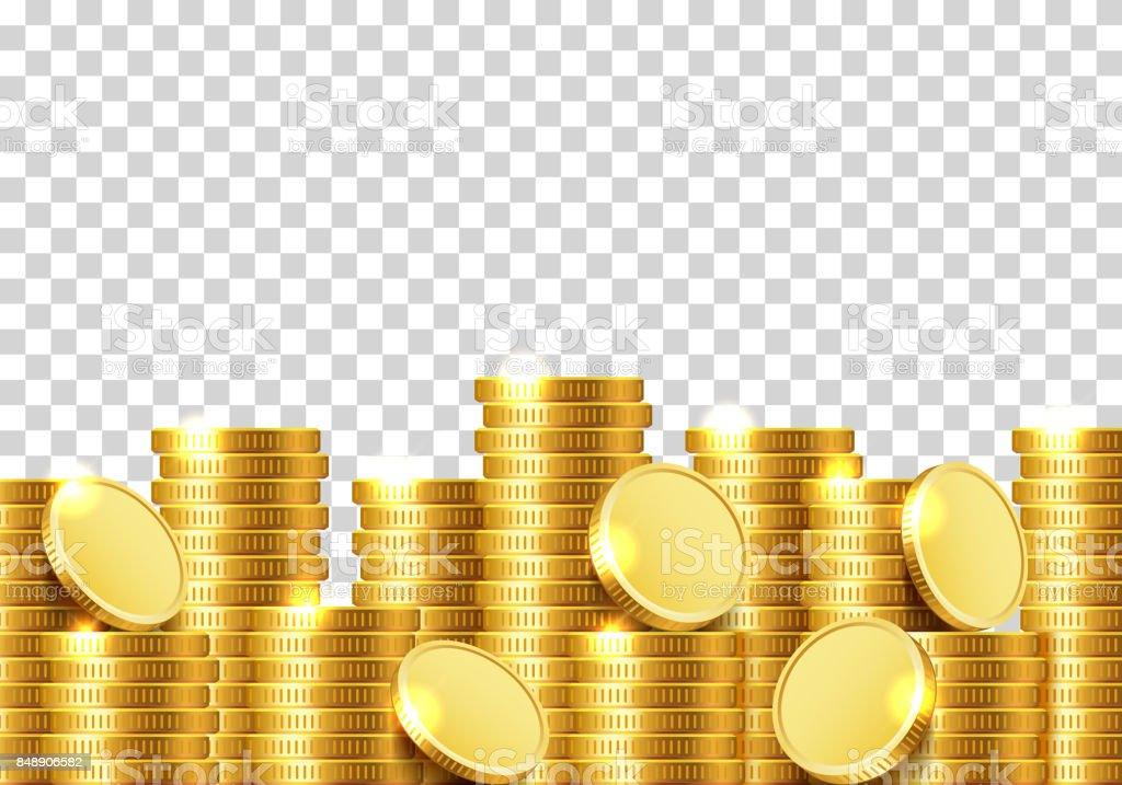 Um monte de moedas em um fundo transparente. - Vetor de Amontoamento royalty-free