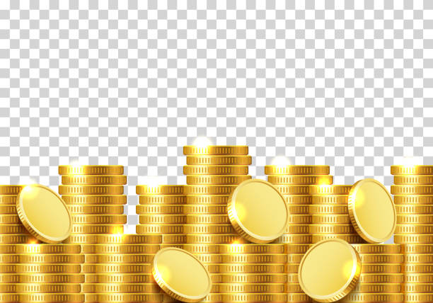 A lot of coins on a transparent background. A lot of coins on a transparent background. Vector illustration stack stock illustrations