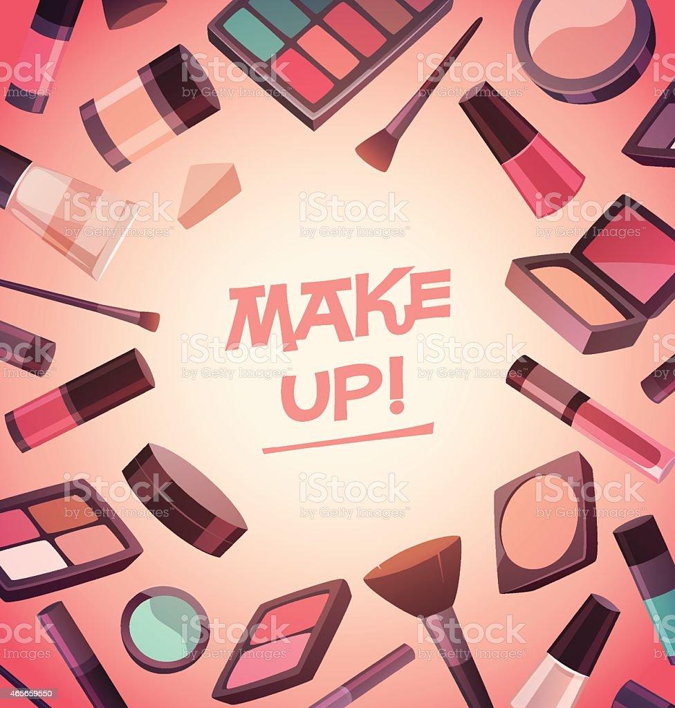 Lot of cosmetics for makeup vector art illustration
